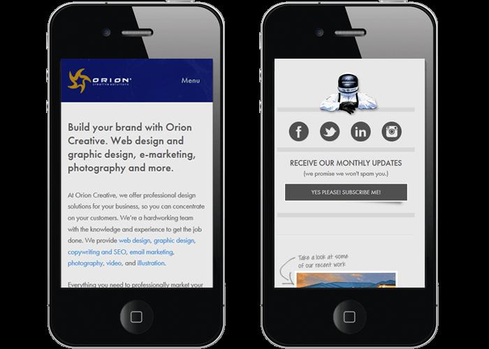 responsive web design displayed on an iPhone