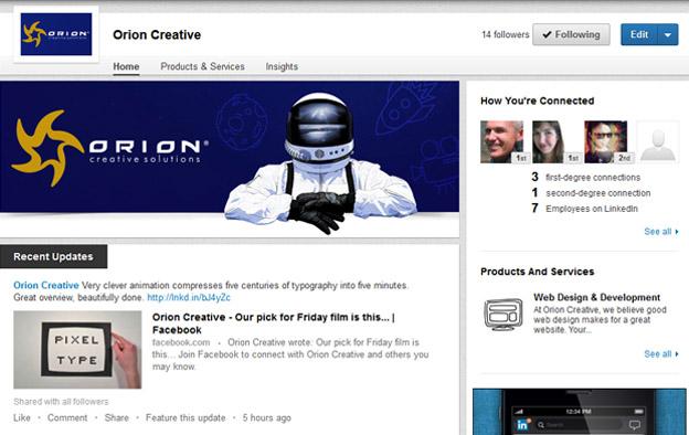 Orion Creative LinkedIn company page